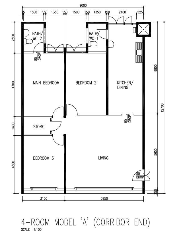 Yishun 4 Room HDB Flat For Sale floor-plan - HDB Resale Flats For ...